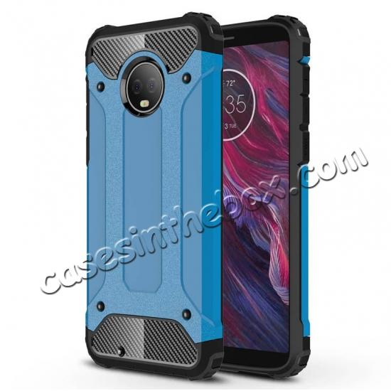best price For Motorola Moto G6 Rugged Armor Hybrid Shockproof Back Case Cover - Blue