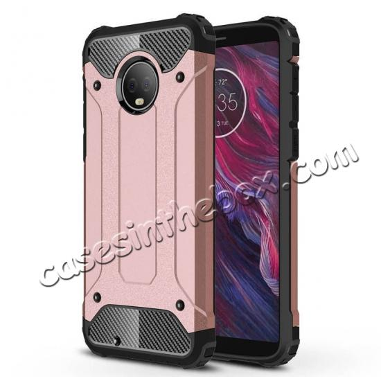 wholesale For Motorola Moto G6 Rugged Armor Hybrid Shockproof Back Case Cover - Rose gold
