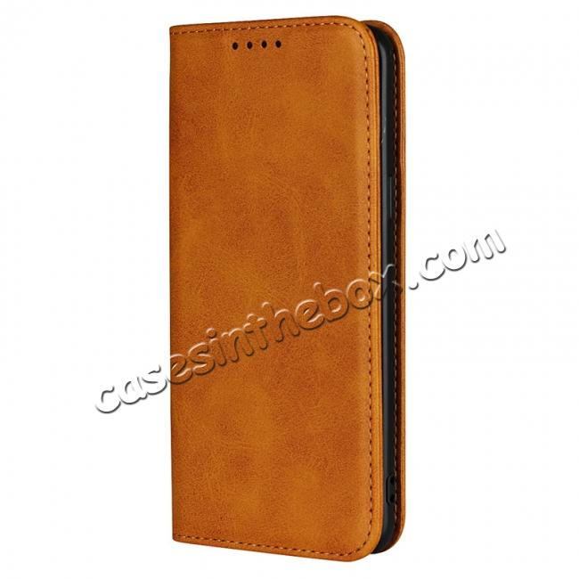 discount For Samsung Galaxy S9 Leather Case Premium Leather Slim Flip Wallet Case for Samsung Galaxy S9 - Brown