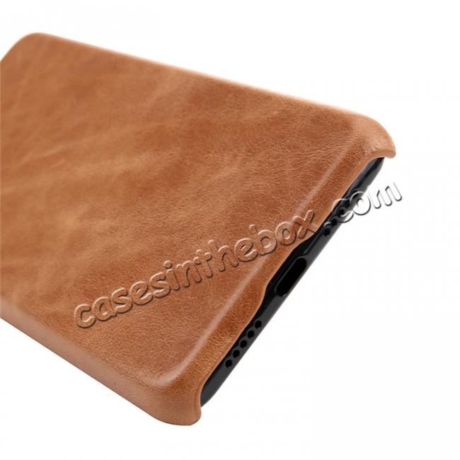 best price Genuine Leather Matte Back Hard Case Cover for Huawei P20 Pro - Brown