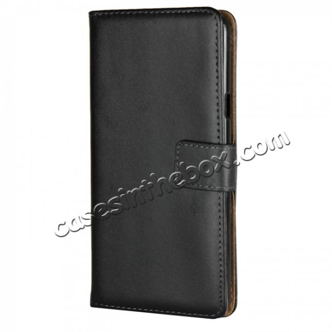 new style 7485d 8c876 Genuine Leather Stand Wallet Case for LG G7 with Card Slots&holder - Black