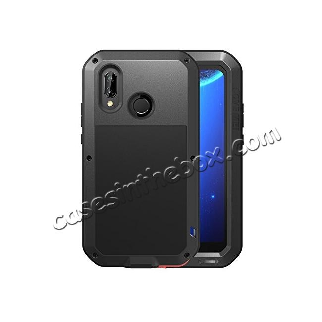 hot sale online c9582 294d3 Metal Armor Shockproof Case Aluminum Cover For HUAWEI P20 Lite - Black