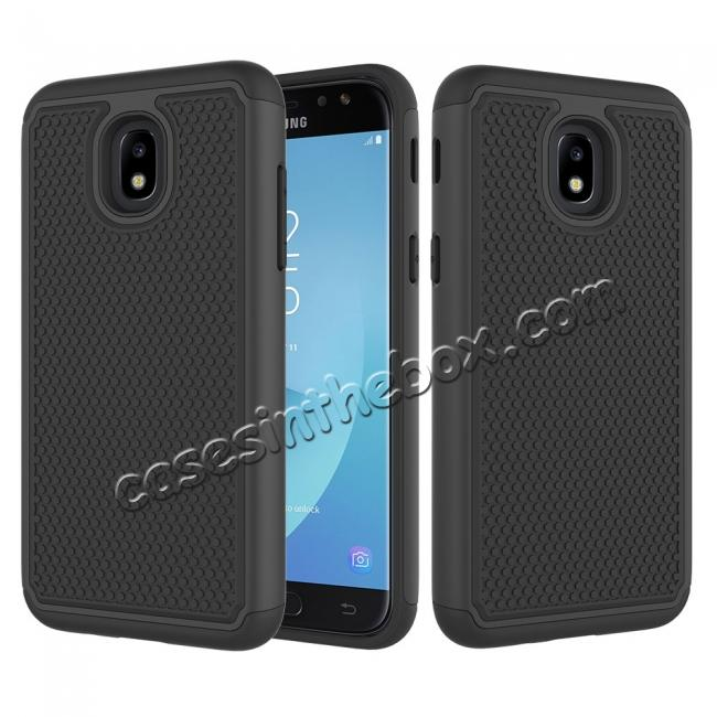 promo code 537f6 f27a0 Hybrid Dual Layer Shockproof Protective Phone Case Cover For Samsung Galaxy  J3 (2018) - Black