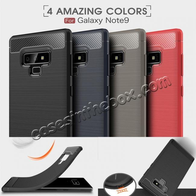 wholesale For Samsung Note 9 Shockproof Carbon Fiber Soft TPU Rubber Case Cover