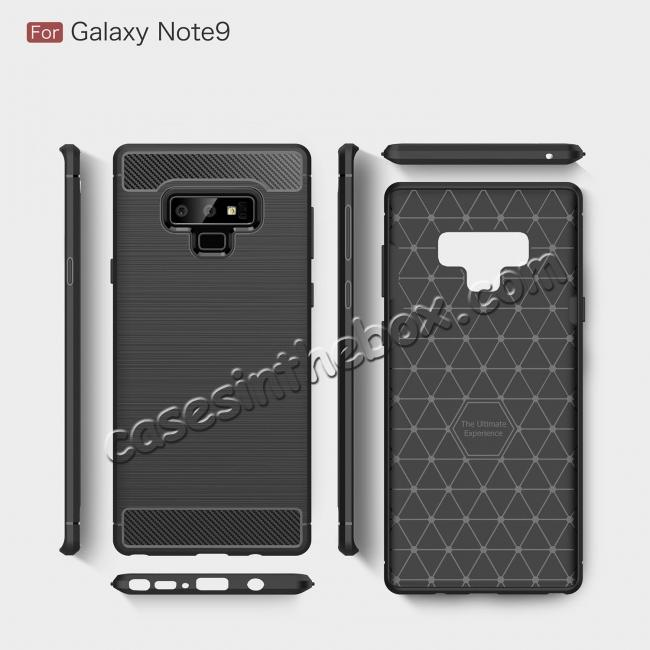 top quality For Samsung Note 9 Shockproof Carbon Fiber Soft TPU Rubber Case Cover