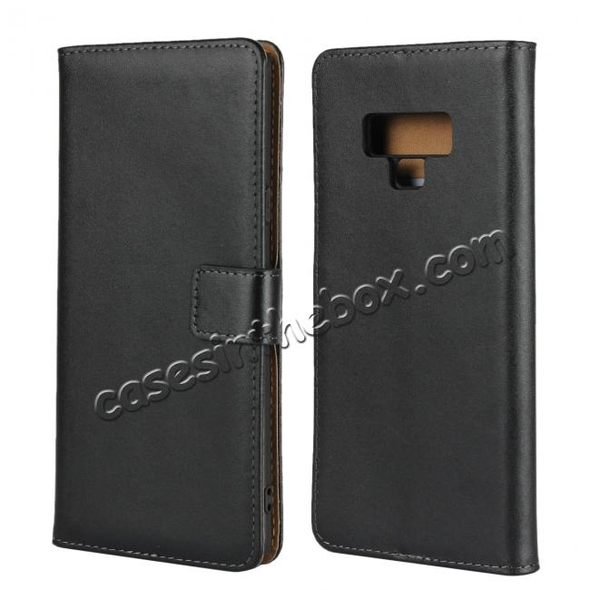 discount Genuine Leather Wallet Card Flip Case Cover for Samsung Galaxy Note 9 Black