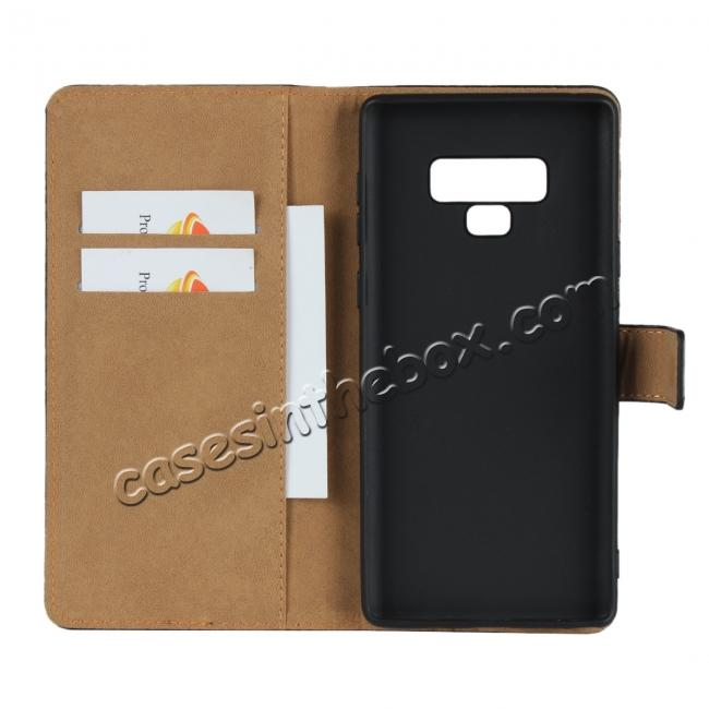 cheap Genuine Leather Wallet Card Flip Case Cover for Samsung Galaxy Note 9 Black