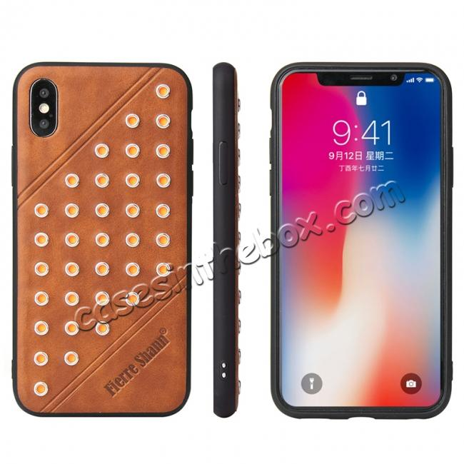 wholesale Rivet Design Leather Soft TPU Back Case Cover for iPhone X - Brown