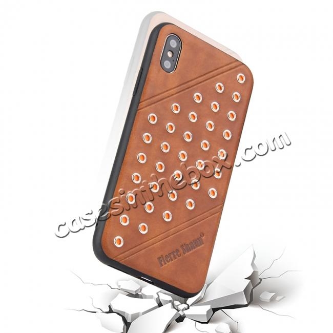 cheap Rivet Design Leather Soft TPU Back Case Cover for iPhone X - Brown