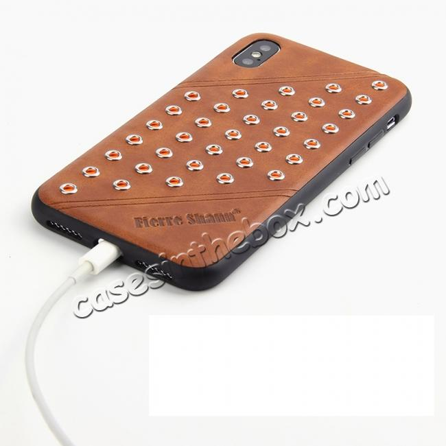 best price Rivet Design Leather Soft TPU Back Case Cover for iPhone X - Brown