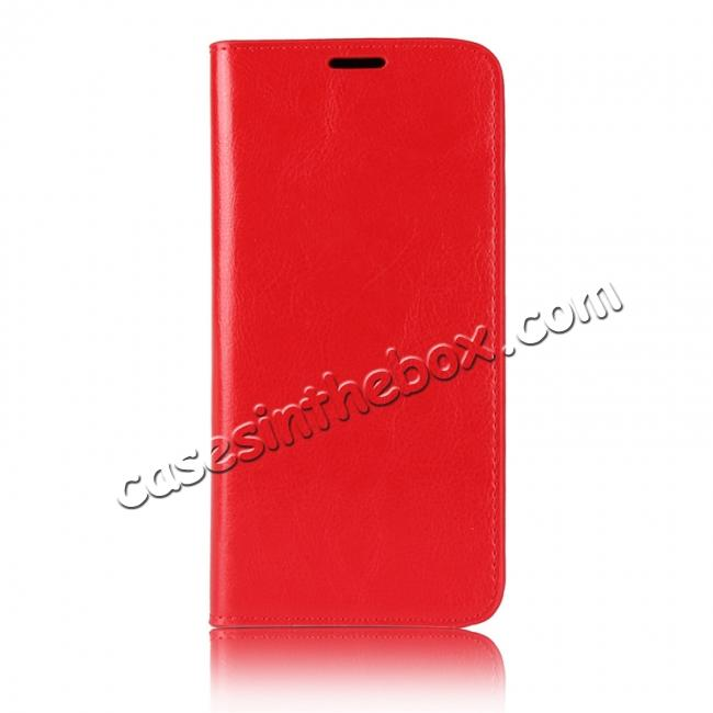 low priced 84e76 a704b For Motorola Moto E5 Plus Crazy Horse Genuine Leather Case Flip Stand Card  Slot - Red