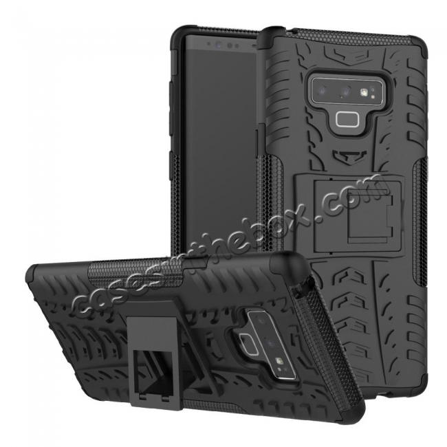 cheap For Samsung Galaxy Note 9 Shockproof Hybrid TPU Armor Kickstand Case + Tempered Glass Screen