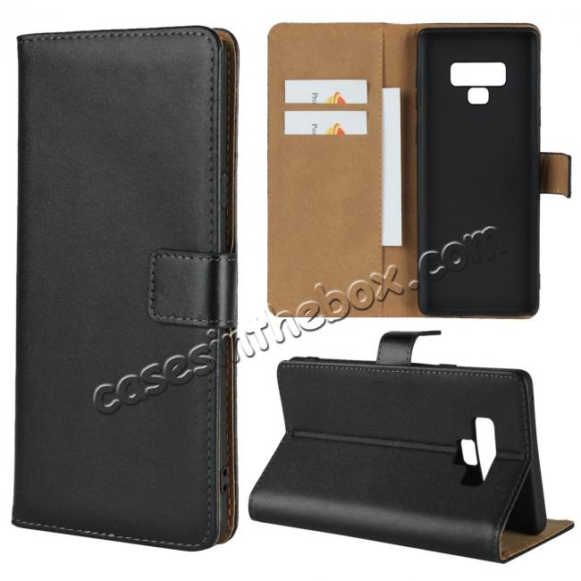 wholesale Genuine Leather Wallet Card Flip Case Cover for Samsung Galaxy Note 9 Black