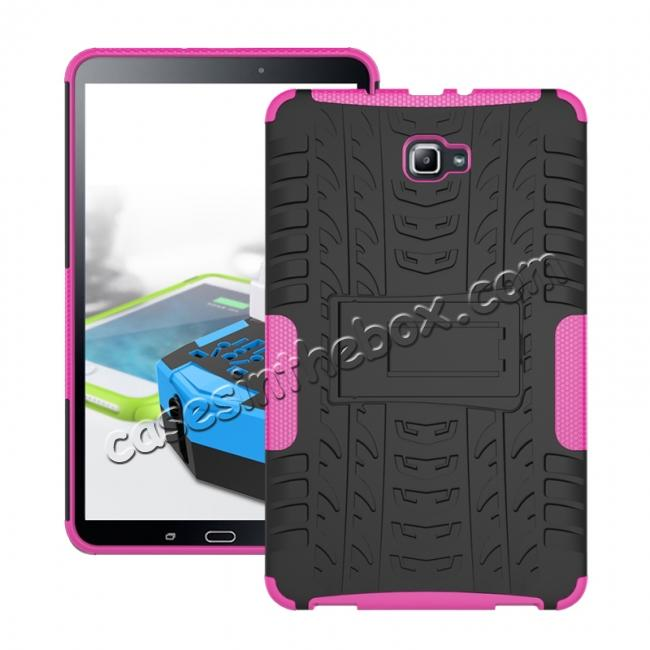 wholesale Heavy Duty Hybrid Protective Case with Kickstand For Samsung Galaxy Tab A 10.1 Inch SM-T580 SM-T585 - Hot Pink
