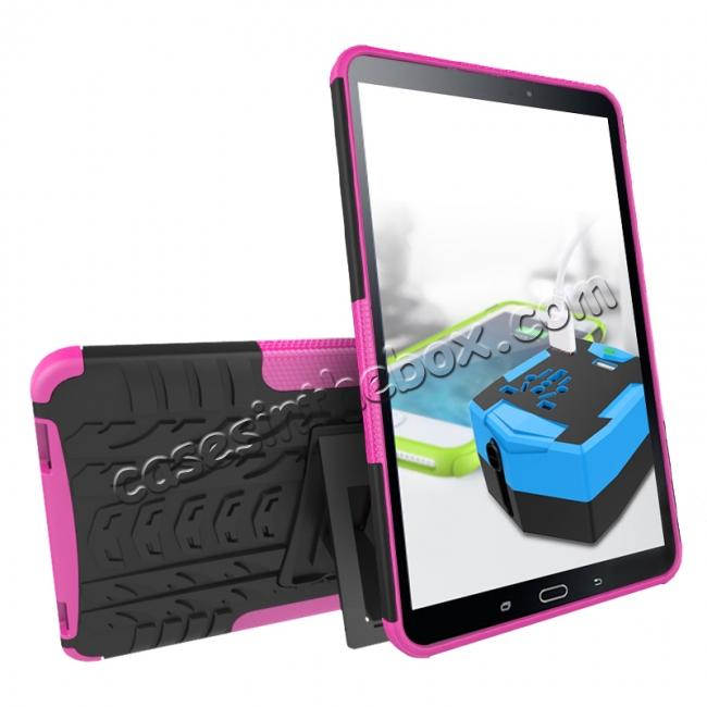 discount Heavy Duty Hybrid Protective Case with Kickstand For Samsung Galaxy Tab A 10.1 Inch SM-T580 SM-T585 - Hot Pink