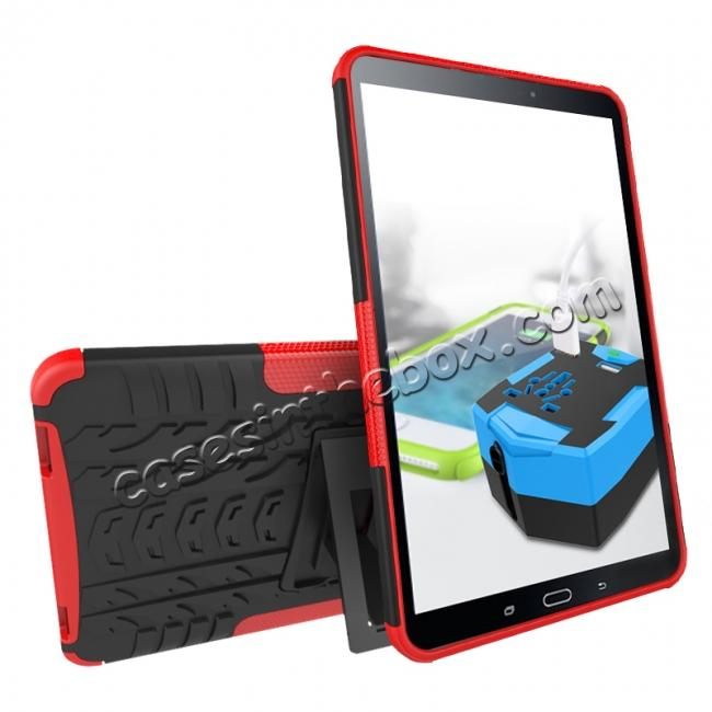discount Heavy Duty Hybrid Protective Case with Kickstand For Samsung Galaxy Tab A 10.1 Inch SM-T580 SM-T585 - Red