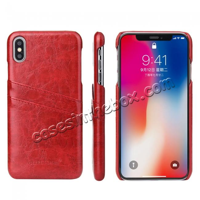 discount Case for iPhone XS Max Oil Wax Leather Credit Card Holder Back Cover