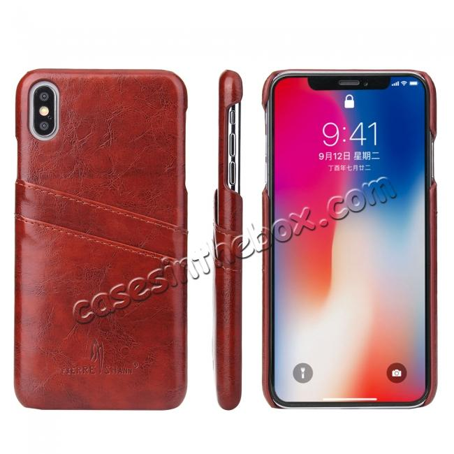 top quality Case for iPhone XS Max Oil Wax Leather Credit Card Holder Back Cover