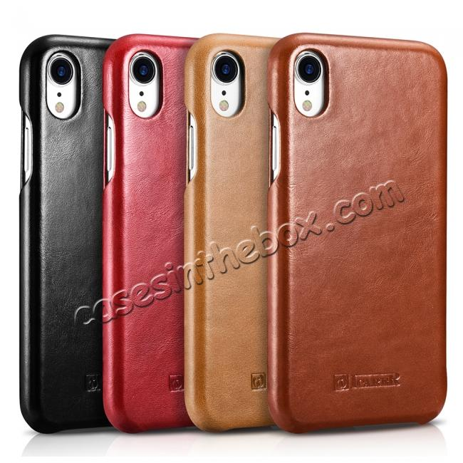 wholesale For iPhone XR ICARER Vintage Curved Edge Flip Real Leather Case