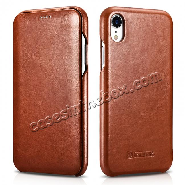 discount For iPhone XR ICARER Vintage Curved Edge Flip Real Leather Case
