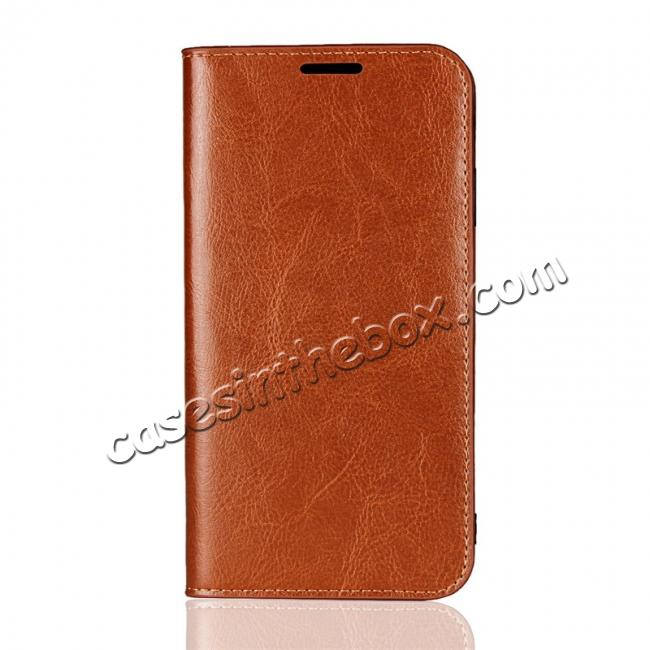 discount For iPhone XS Max Leather Wallet Stand Case Card Slot Shockproof Flip Cover - Brown