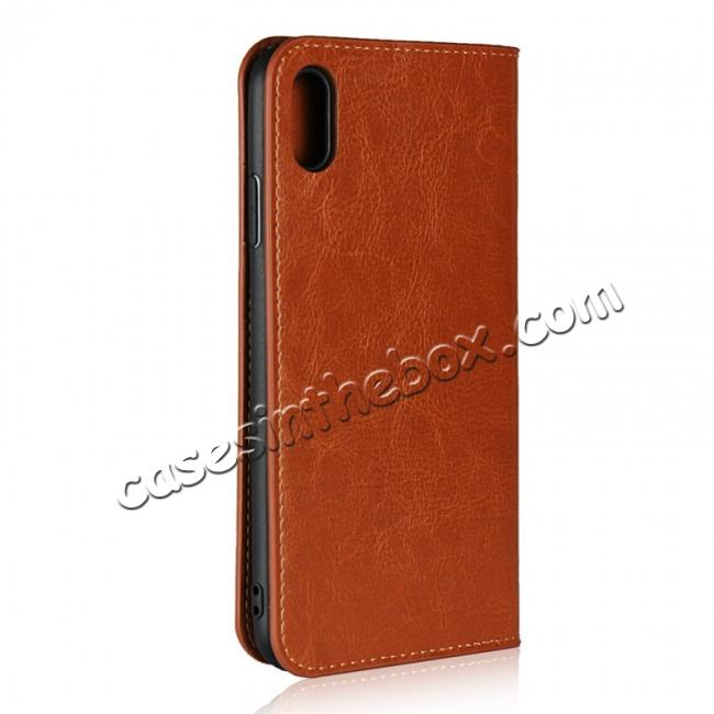 cheap For iPhone XS Max Leather Wallet Stand Case Card Slot Shockproof Flip Cover - Brown