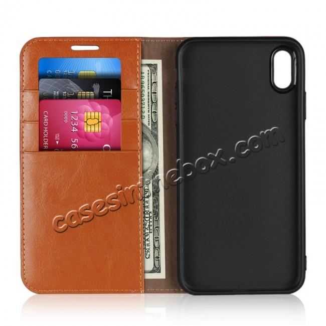 top quality For iPhone XS Max Leather Wallet Stand Case Card Slot Shockproof Flip Cover - Brown