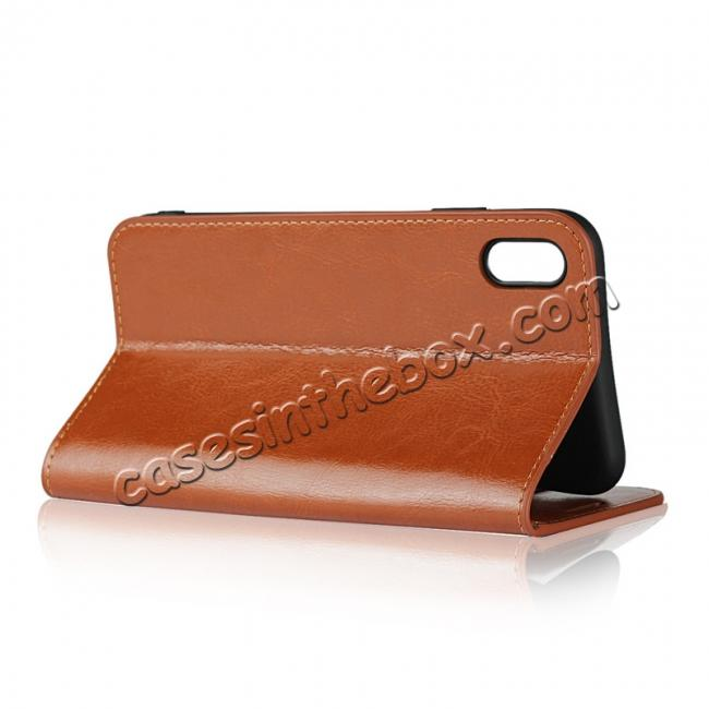 best price For iPhone XS Max Leather Wallet Stand Case Card Slot Shockproof Flip Cover - Brown
