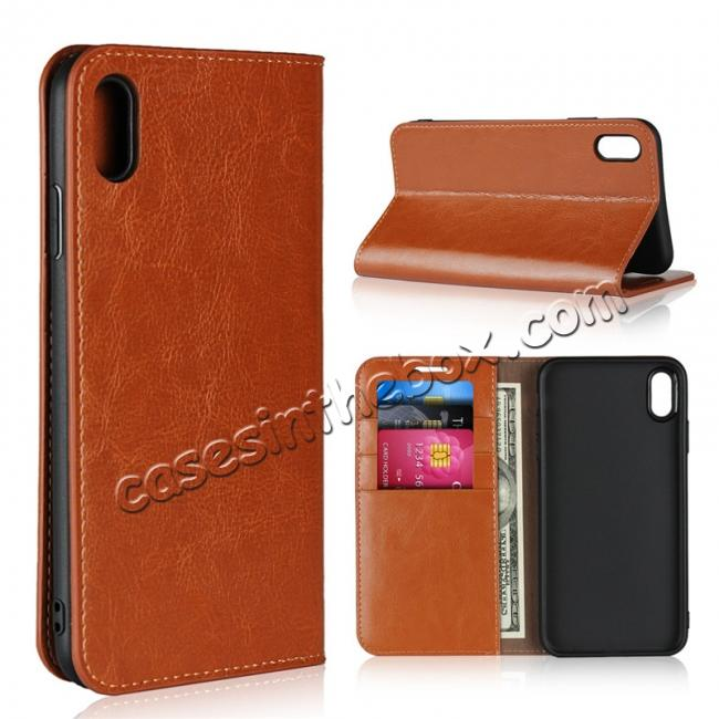 wholesale For iPhone XS Max Leather Wallet Stand Case Card Slot Shockproof Flip Cover - Brown