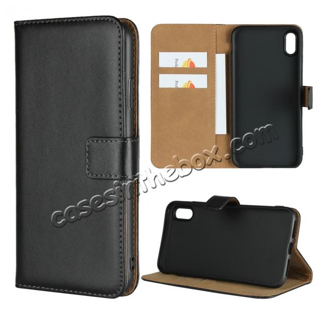 wholesale For iPhone XS Max Magnetic Genuine Leather Flip Cover Wallet Stand Case