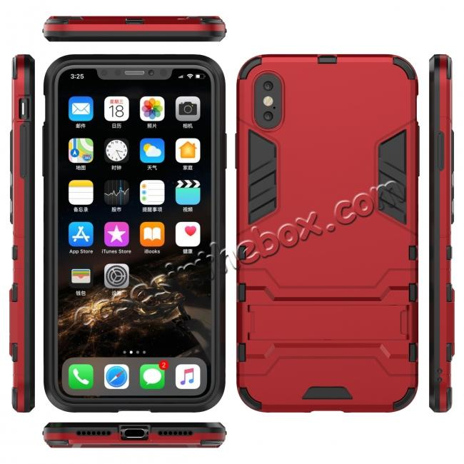 pretty nice 0547a 640be For iPhone XS Max XR XS Hybrid Heavy Armor Rugged Kickstand Hard Case Cover  - Red