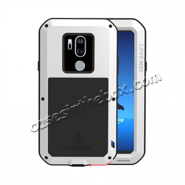 save off 29fc5 679df For LG G7 / LG G7 ThinQ Aluminum Metal Gorilla Glass Shockproof Waterproof  Case Cover - White