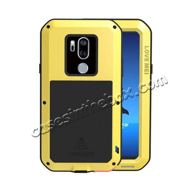 meet c590c 83e0f For LG G7 ThinQ/LG G7 Plus ThinQ Heavy Duty Aluminum Metal Case Gorilla  Glass Cover Yellow