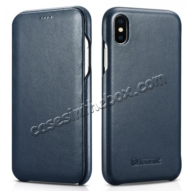 wholesale ICARER Curved Edge Luxury Genuine Leather Side Flip Case For iPhone XS Max - Dark Blue