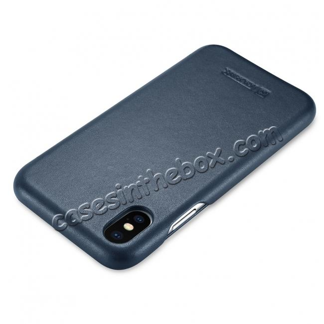 cheap ICARER Curved Edge Luxury Genuine Leather Side Flip Case For iPhone XS Max - Dark Blue