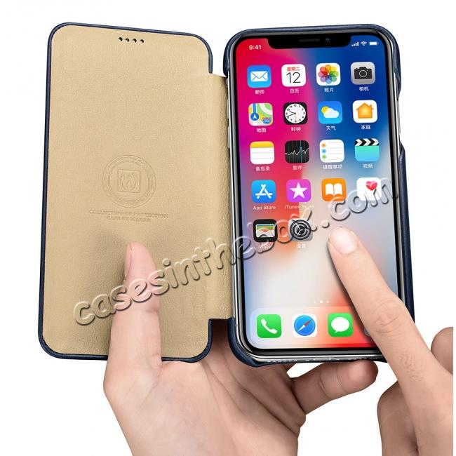 best price ICARER Curved Edge Luxury Genuine Leather Side Flip Case For iPhone XS Max - Dark Blue