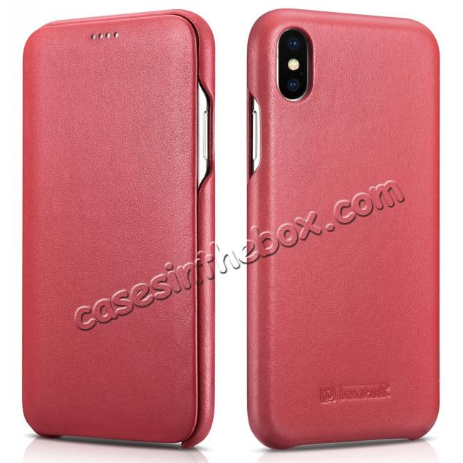 wholesale ICARER Curved Edge Luxury Genuine Leather Side Flip Case For iPhone XS Max - Red
