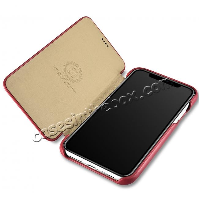 discount ICARER Curved Edge Luxury Genuine Leather Side Flip Case For iPhone XS Max - Red