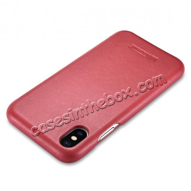 top quality ICARER Curved Edge Luxury Genuine Leather Side Flip Case For iPhone XS Max - Red