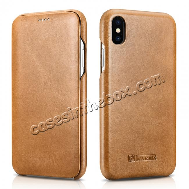 top quality ICARER Vintage Case For iPhone XS Max / XS / XR / X / Samsung Note 9 Curved Edge Flip Real Leather