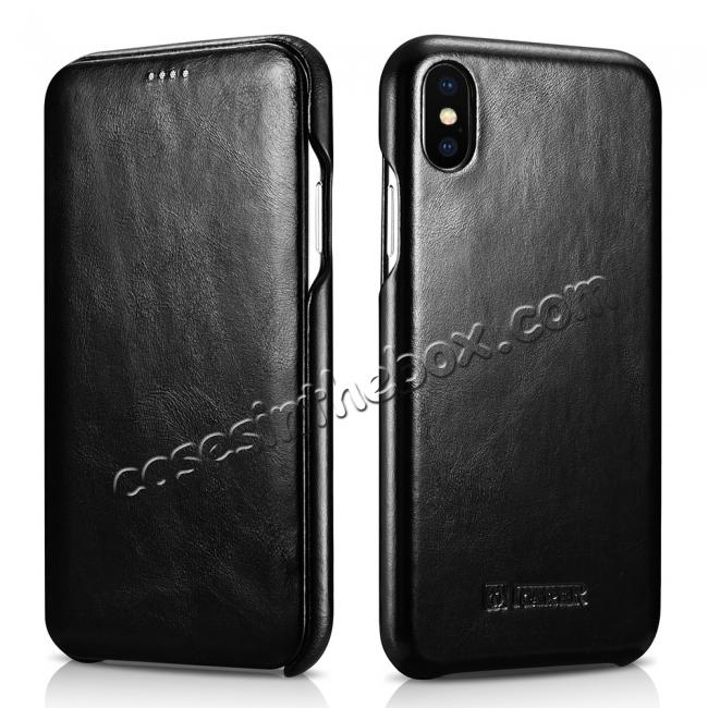 best price ICARER Vintage Case For iPhone XS Max / XS / XR / X / Samsung Note 9 Curved Edge Flip Real Leather