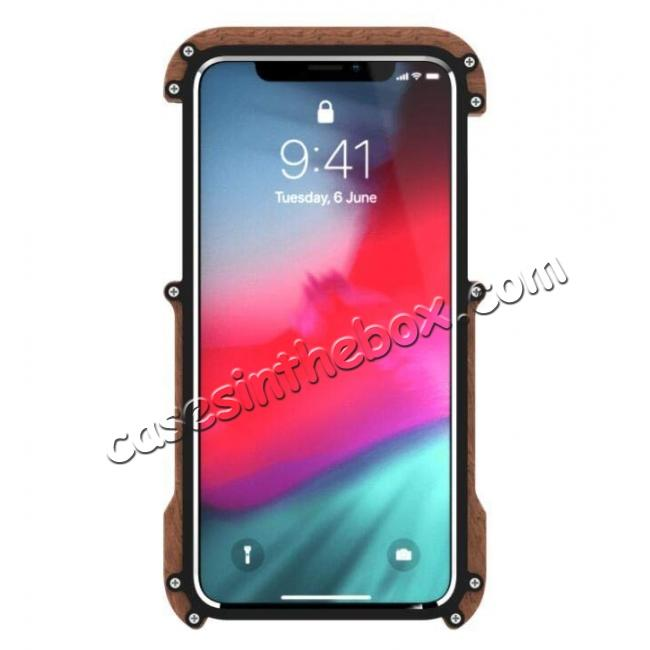 discount Aluminum Wood Metal Case Shockproof Dropproof Bumper Frame for iPhone XS