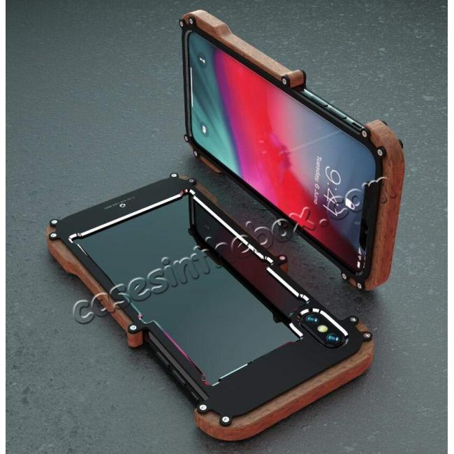 top quality Aluminum Wood Metal Case Shockproof Dropproof Bumper Frame for iPhone XS