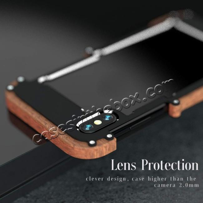 best price Aluminum Wood Metal Case Shockproof Dropproof Bumper Frame for iPhone XS