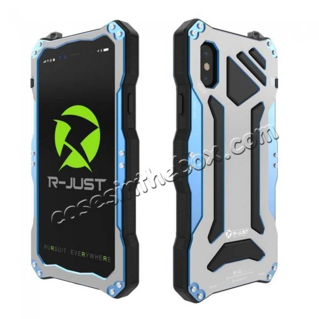 wholesale R-Just Gorilla Glass Aluminum Metal Shockproof Military Bumper Case for iPhone XS Max - Blue