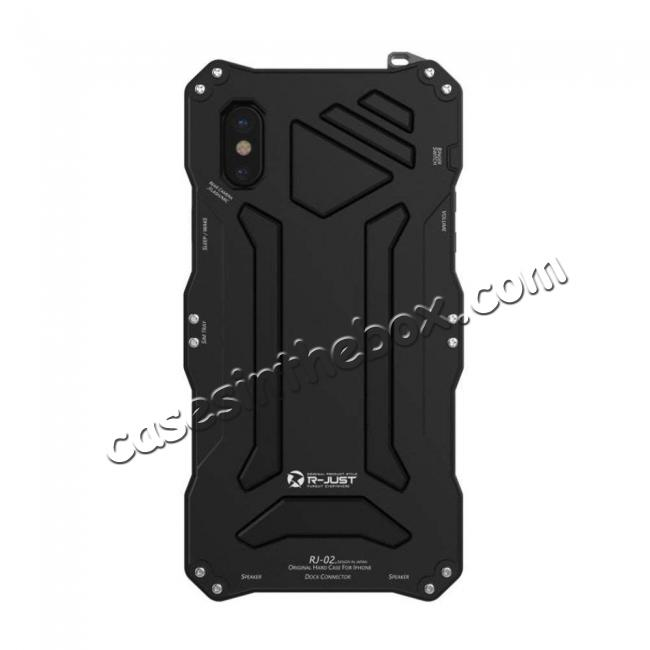 discount R-Just Gorilla Glass Aluminum Metal Shockproof Military Bumper Case for iPhone XS Max - Black