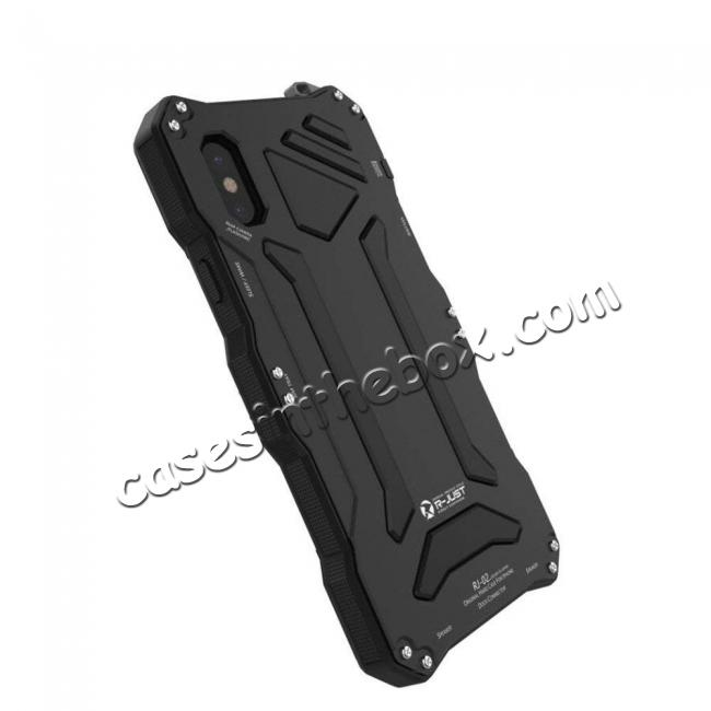 top quality R-Just Gorilla Glass Aluminum Metal Shockproof Military Bumper Case for iPhone XS Max - Black