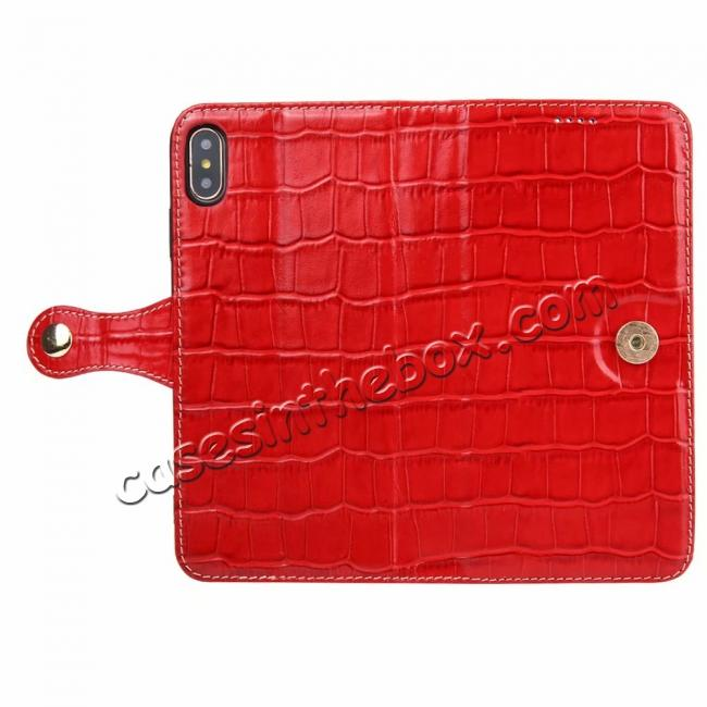discount For iPhone XS Max Crocodile Pattern Genuine  Leather Stand Case with Card Slots -  Red