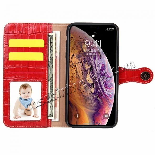 cheap For iPhone XS Max Crocodile Pattern Genuine  Leather Stand Case with Card Slots -  Red