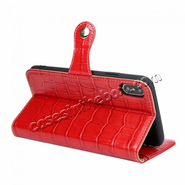 top quality For iPhone XS Max Crocodile Pattern Genuine  Leather Stand Case with Card Slots -  Red